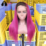 Fuchsia Long Straight Lace Front Wig Hairstyles 13*4 150% Density -- JVH