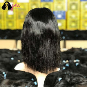 100 Human Hair Lace Front Wigs With Baby Hair For Black Women Bob Natural Straight 13*4 150% Density -- JVH