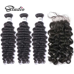 Studio wholesale 100% human hair 3 deep wave bundles with frontal