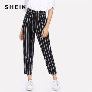 dd1a464e1951 SHEIN Self Belt Striped Pants Women fashion Clothing High Waist Zipper Fly  Trousers 2018 Spring New Casual Carrot Pants