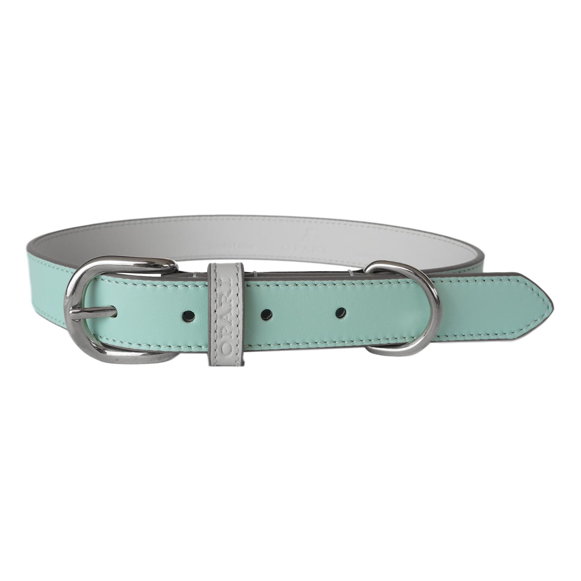 Beautiful Aqua Blue Leather Dog Collar by Opari