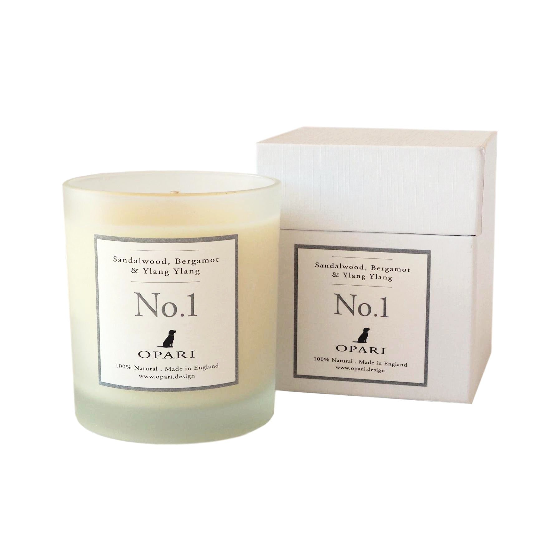 100% natural scented candle, Sandalwood Bergamot & Ylang Ylang by Opari