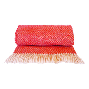 Herringbone wool dog blanket in a stunning coral colour