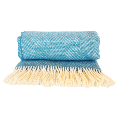 Blue Herringbone Wool Throw by Opari