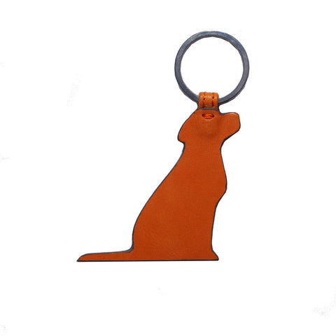 Opari Orange Leather Dog Keyring