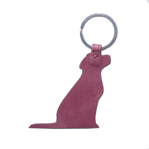 Opari Raspberry Pink Leather Labrador Dog Keyring