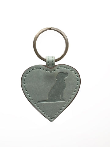 Opari Sky Blue Leather Heart with Dog Keyring