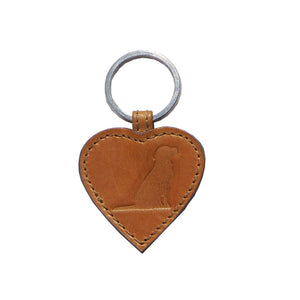 Opari luxury tan leather heart with dog keyring