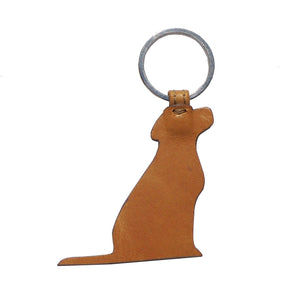 Opari Luxury Tan Leather Dog Labrador Keyring