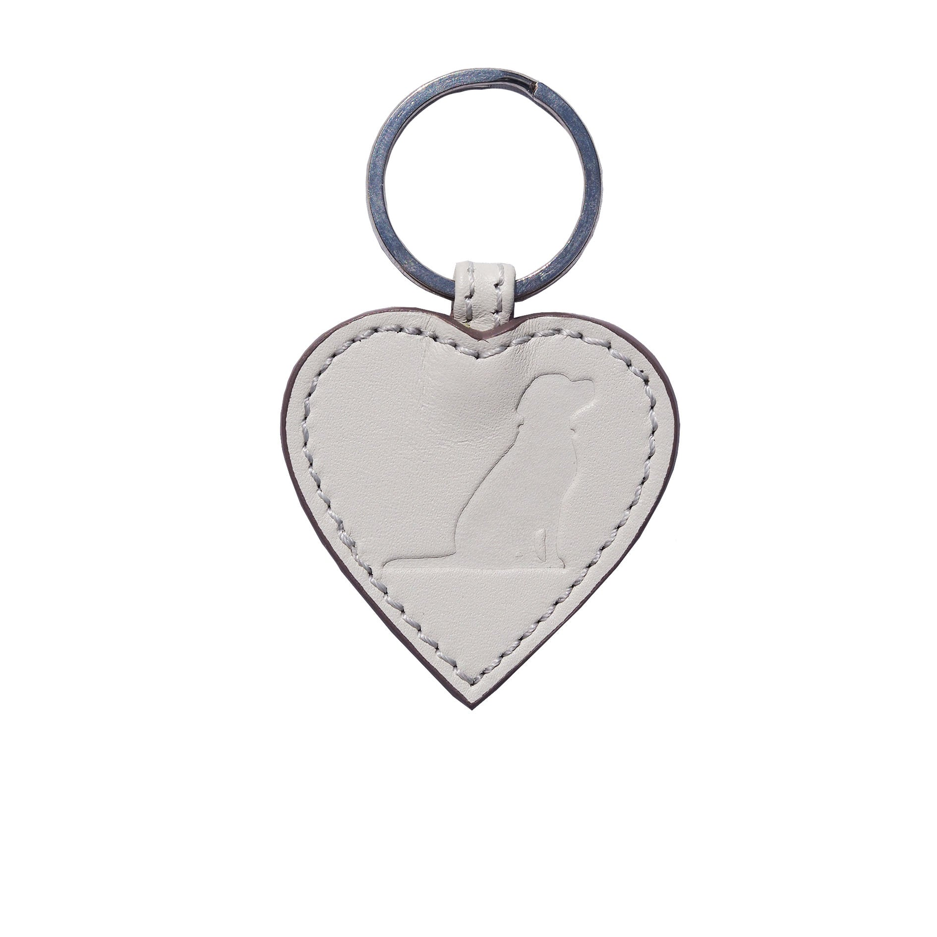 Opari White Leather Heart with Dog Keyring