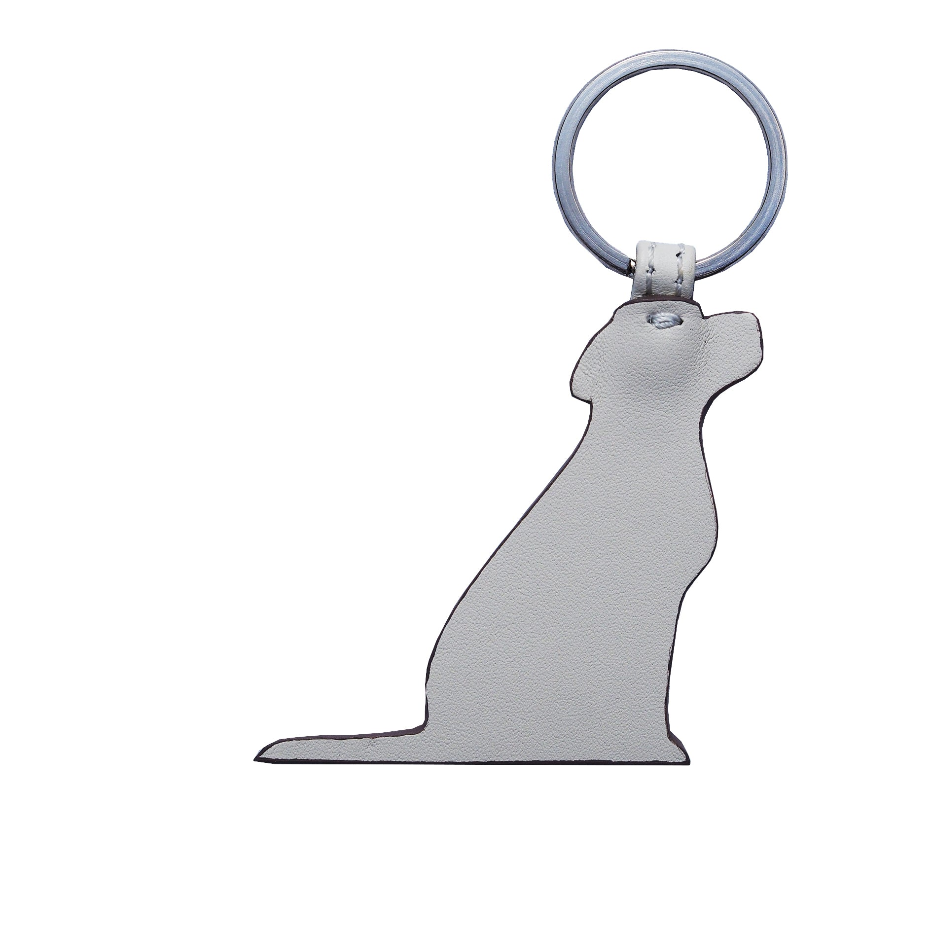 Opari White Leather Labrador Dog Keyring