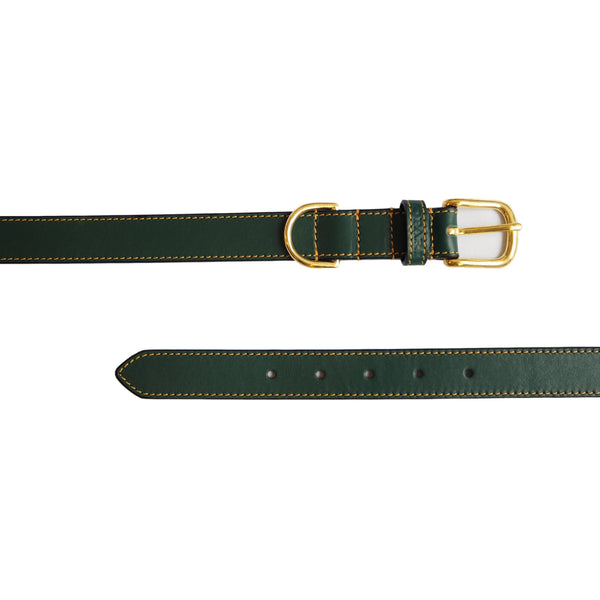 Forest Green Leather Dog Collar by Opari