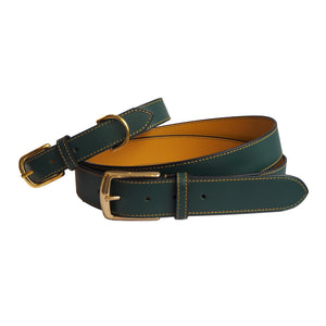Stunning Forest Green Leather Belt and matching Leather Dog Collar by Opari
