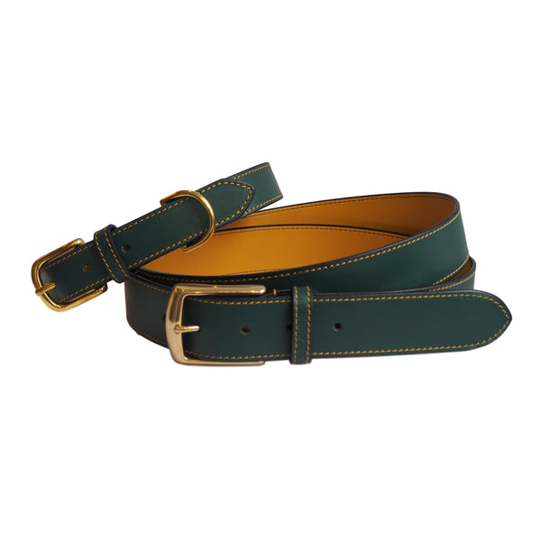 Forest Green Leather Belt and Dog Collar by Opari