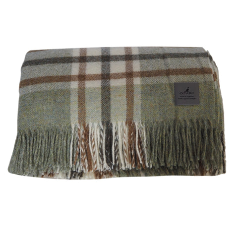 Town and Country Sage Green Check Wool Throw by Opari