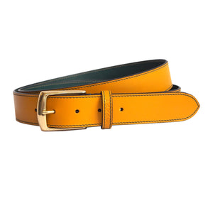 Ochre Yellow Leather Belt, mens and womens by Opari