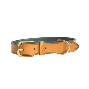 Ochre Leather Dog Collar by Opari