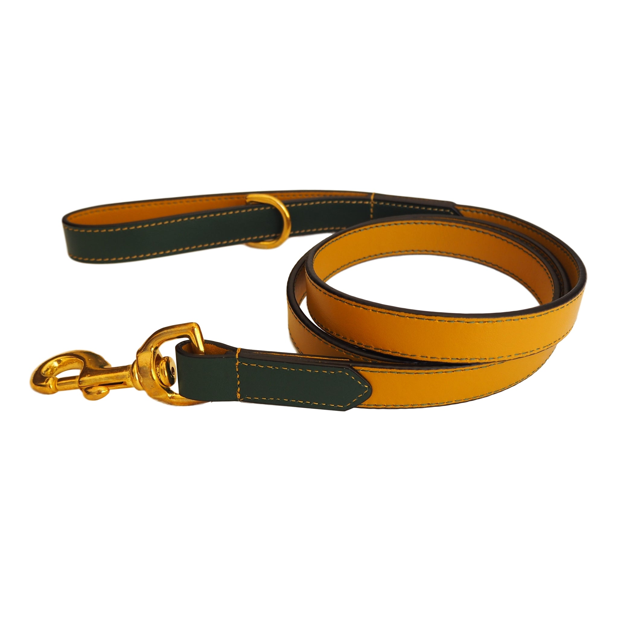 Ochre Yellow Leather Dog Lead by Opari