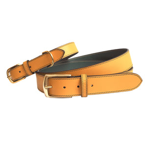 Twinning Ochre Yellow Leather Belt and matching Dog Collar by Opari