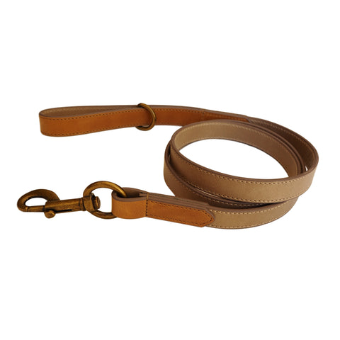 Taupe & Tan Leather Dog Lead by Opari