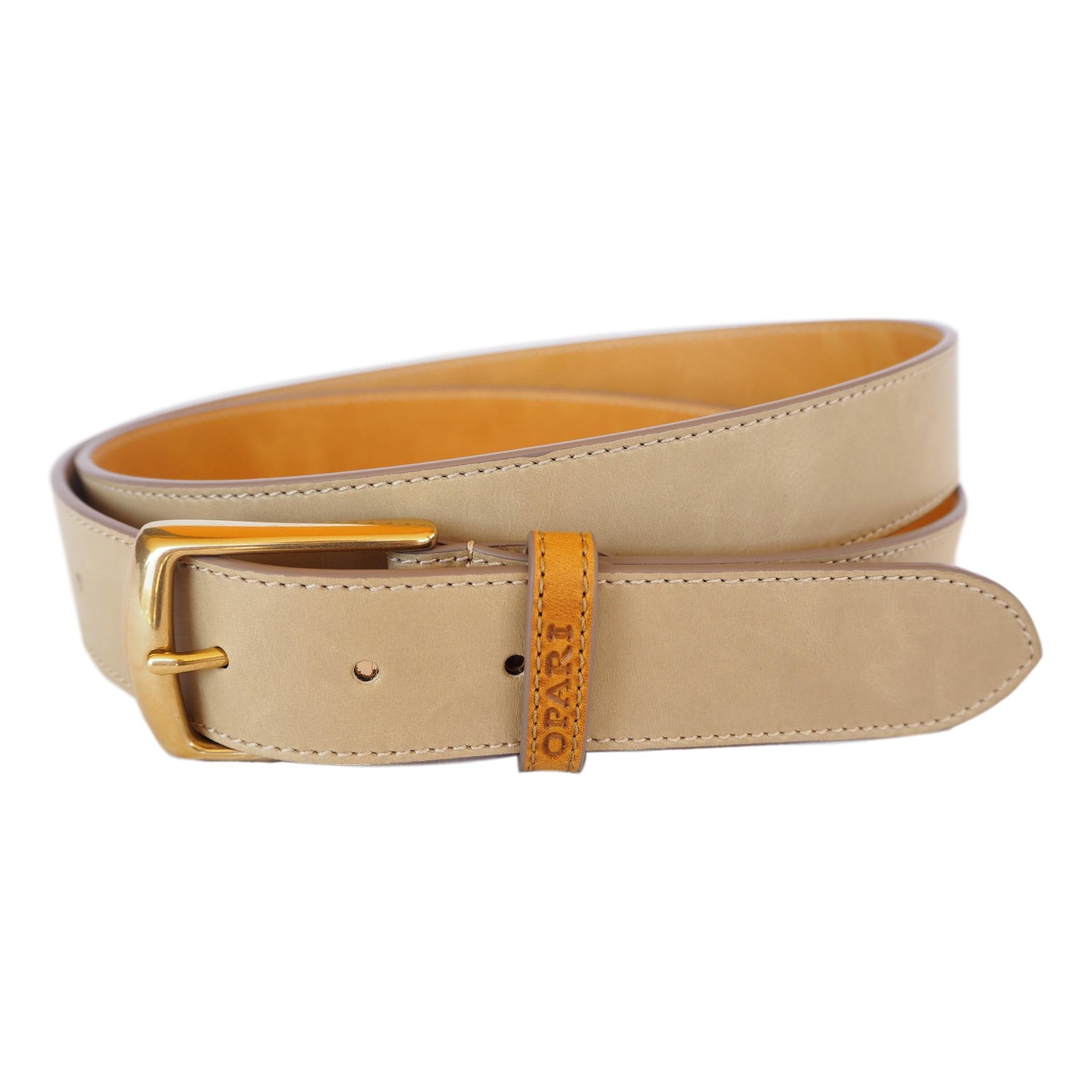 Taupe Leather Belt by Opari