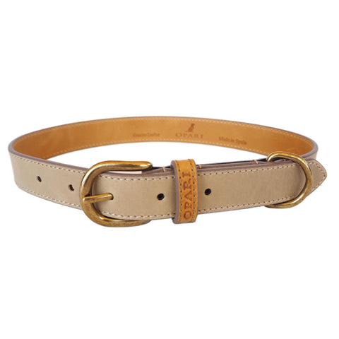 Taupe Leather Dog Collar by Opari