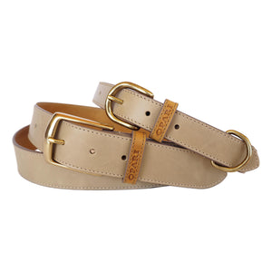 Taupe Leather Belt and matching Dog Collar by Opari