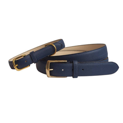 Twinning Luxury Navy Blue Leather Belt and Matching Dog Collar by Opari