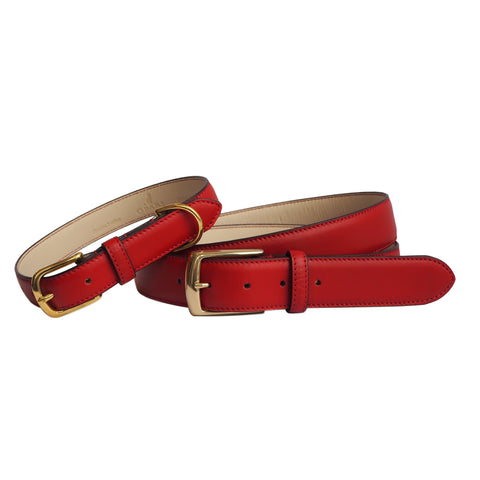 Scarlet Red Leather Belt and Dog Collar by Opari. Twinning Matching