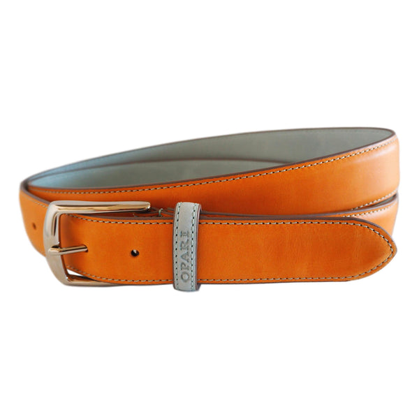 Orange leather belt by Opari