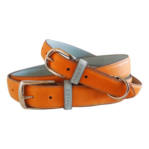 Orange leather belt and matching dog collar by Opari