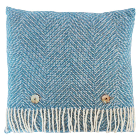 Blue Herringbone Wool Cushion by Opari