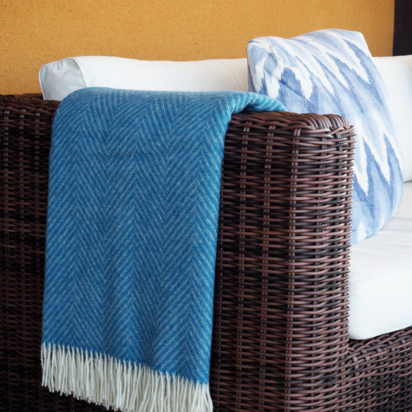 Blue Herringbone Wool Dog Blanket by Opari