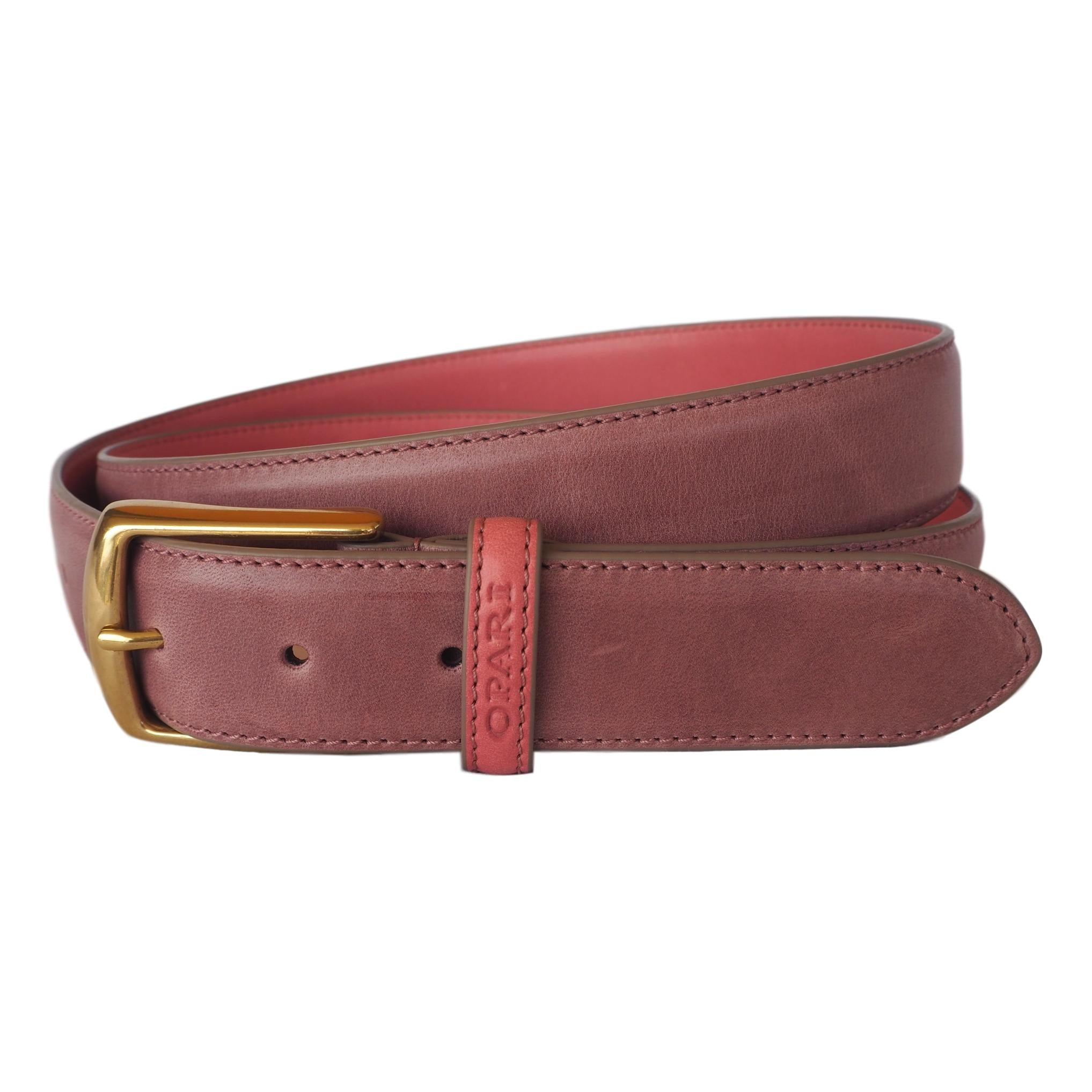 Raspberry Pink Leather Belt by Opari