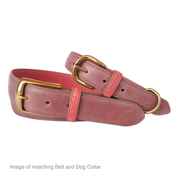 Raspberry Pink Leather Belt and matching Dog Collar by Opari