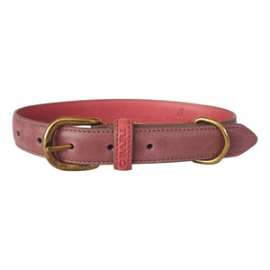 Raspberry Leather Dog Collar