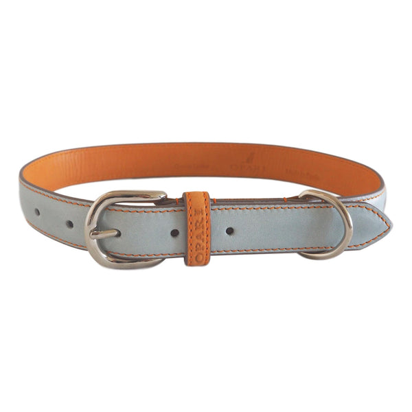 Sky Blue Leather Dog Collar by Opari