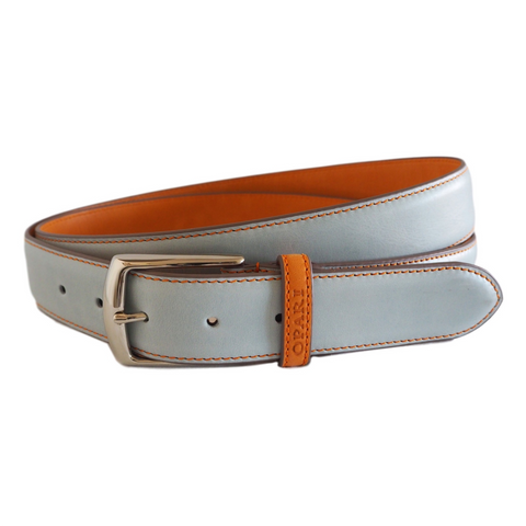 Sky Blue Leather Belt