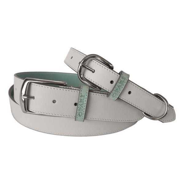 White Leather Belt and matching Dog Collar by Opari