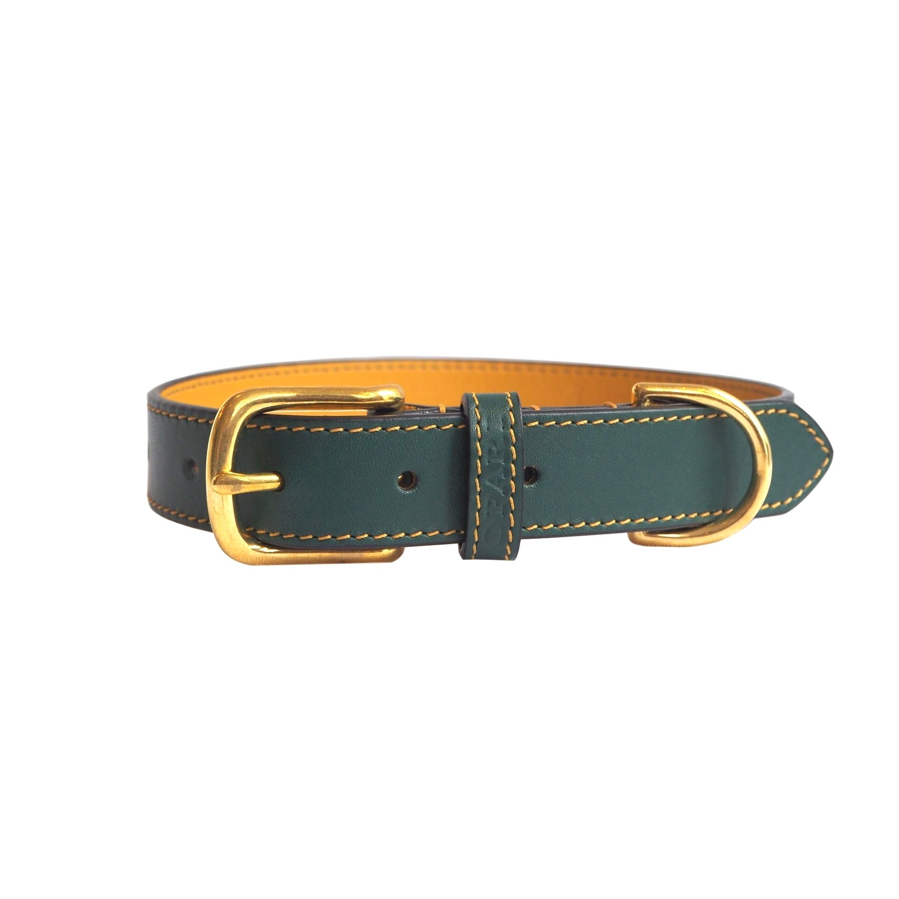 Opari Forest Green Leather Dog Collar