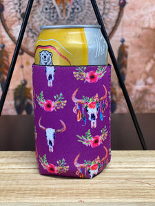 Bull Skull Neoprene Stubby Cooler - Purple