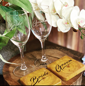 Coaster & Wine Glass Set - 4pk