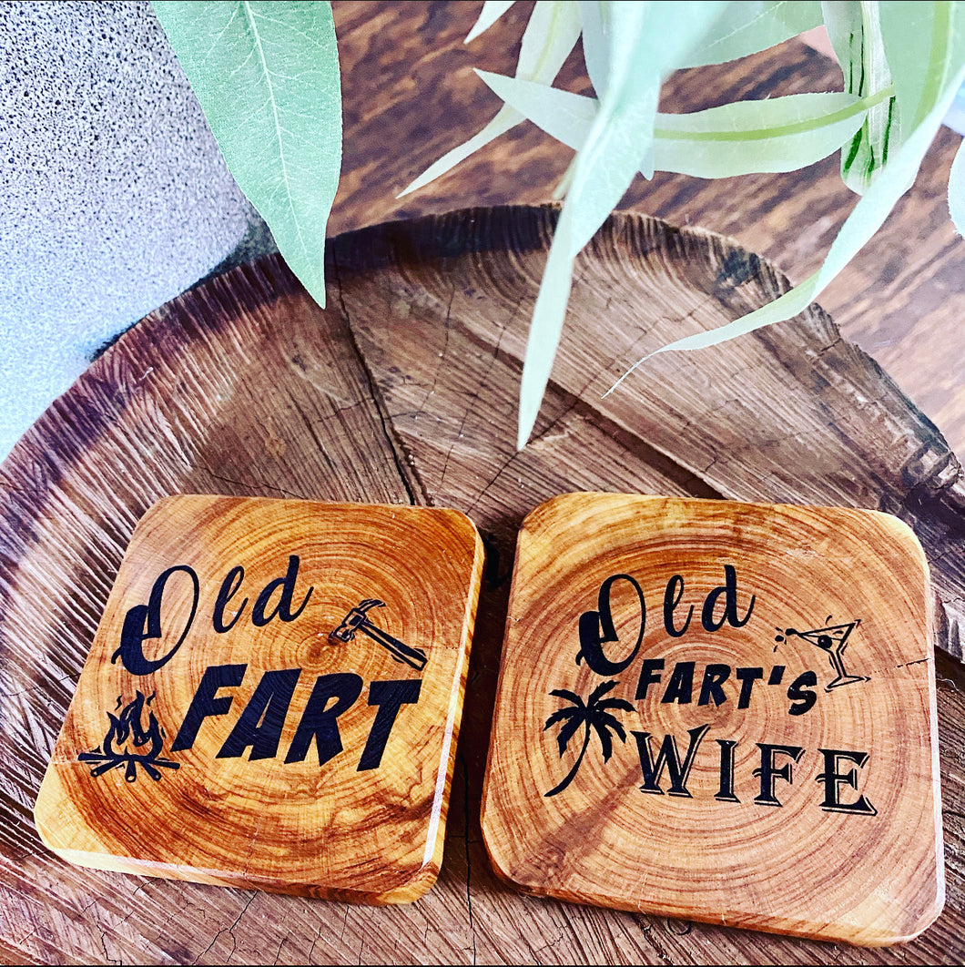 Coasters - Old Fart & Old Fart's Wife - 2pk -