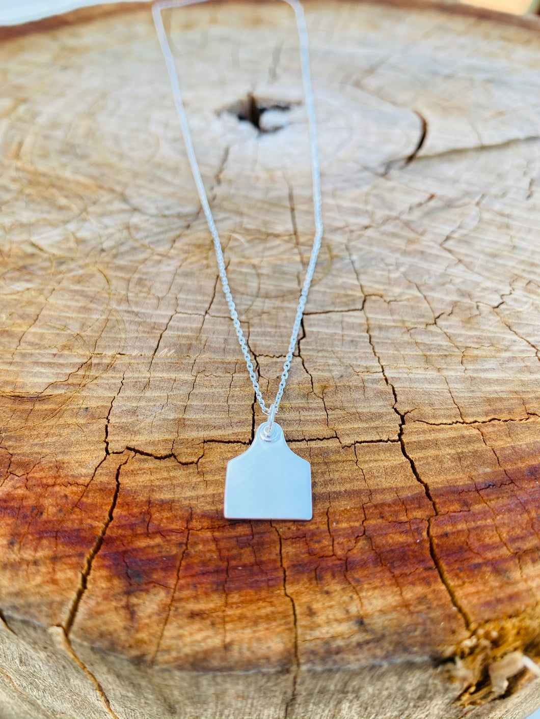 Necklace - PREORDER - Sterling Silver Cattle Ear Tag