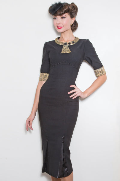 30s Bombshell Dress with Leopard Gold Glitter Trim,stopstaring.