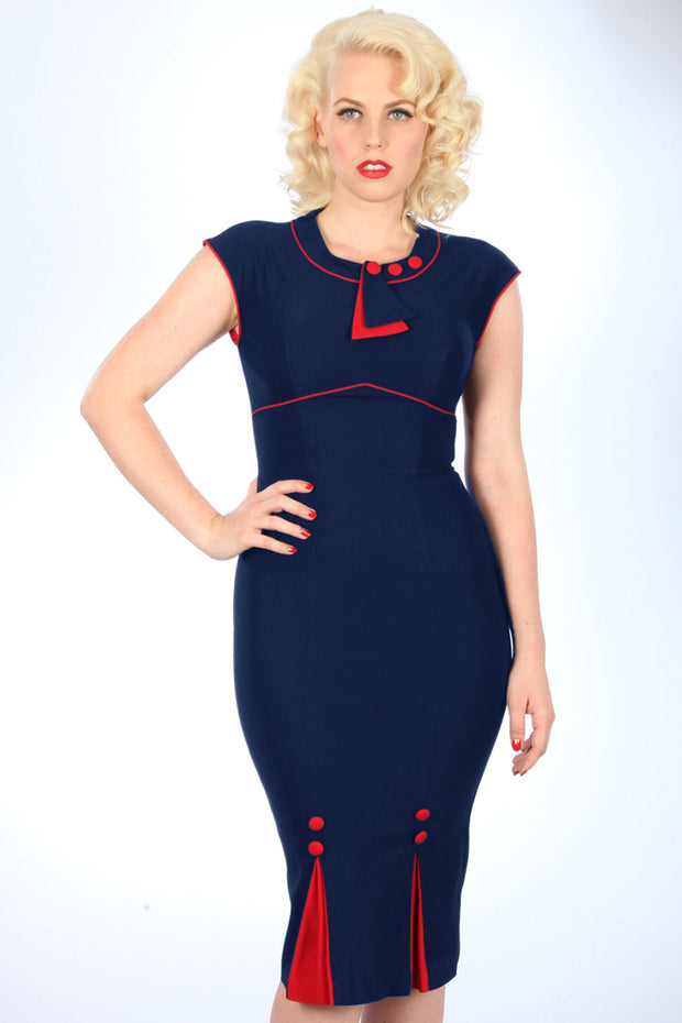 30's Bombshell Navy with Red,stopstaring.