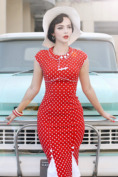 30's Bombshell Polka Dot Dress