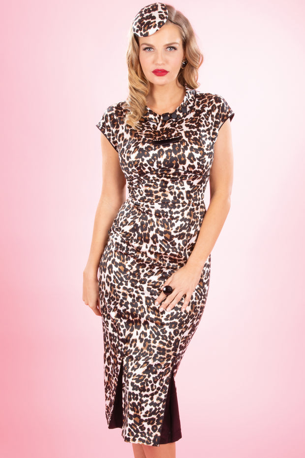 30's Bombshell Dress in Leopard