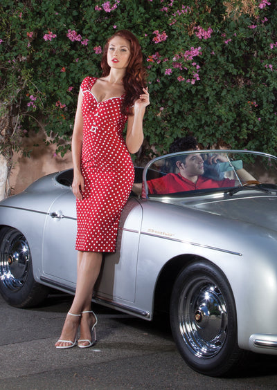 Arbella Fitted Dress Red with White Dot