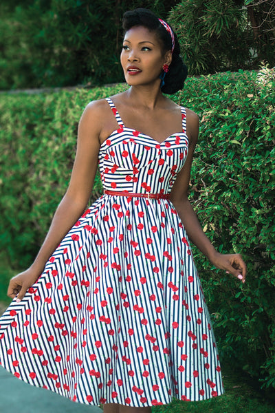 Be Mine Cherry Striped Swing Dress,stopstaring.